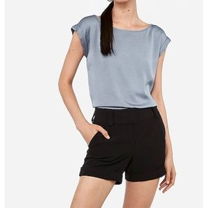 Express Mid Rise Cuffed Dress Shorts